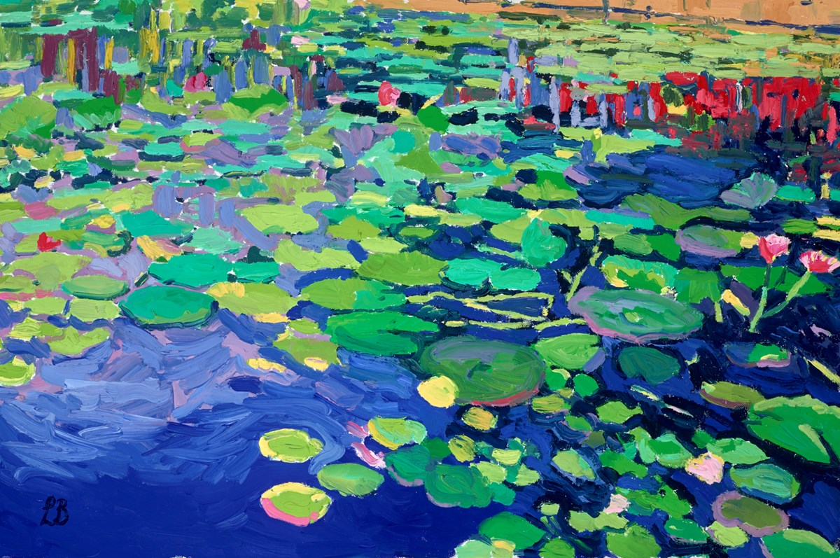 Water Lilies in Blue II by leila barton -  sized 30x20 inches. Available from Whitewall Galleries